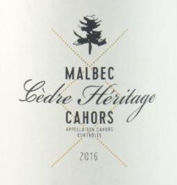 Cedre Heritage Malbec Cahors 2016