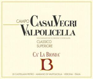 Ca La Bionda Casal Vegri Valpolicella Classico Superiore doc Rosso 2016