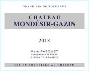 Chateau Mondesir-Gazin Blaye BLANC 2018