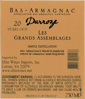 Francis Darroze Armagnac Les Grands Assemblages 20 year old
