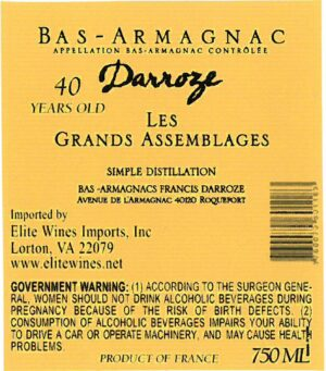Francis Darroze Armagnac Les Grands Assemblages 40 year old