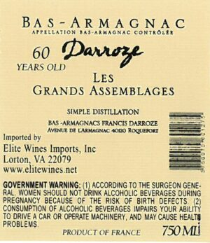 Francis Darroze Armagnac Les Grands Assemblages 60 year old