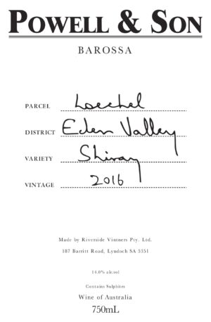 Powell and Son Loechel Eden Valley Shiraz 16 1.5L