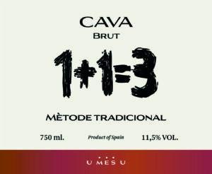 1+1=3 Cava Brut Sparkling Wine 1.5L NV