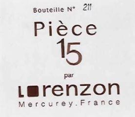 Bruno Lorenzon Mercurey 1er Cru PIECE 15 BLANC 2015