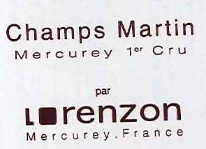 Bruno Lorenzon Mercurey 1er Cru Champs Martin BLANC 2017