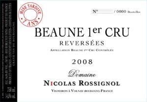 """Nicolas Rossignol, Beaune 1er Cru """"Reversees"""" Mise en Tardive 7 Ans 2008"""