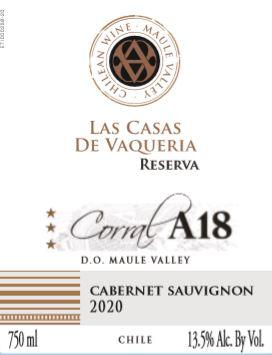 Las Casas De Vaqueria Corral A18 Reserva Cabernet 2020