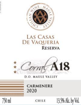 Las Casas De Vaqueria Corral A18 Reserva Carmenere 2020