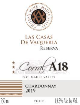 Las Casas De Vaqueria Corral A18 Reserva Chardonnay 2019